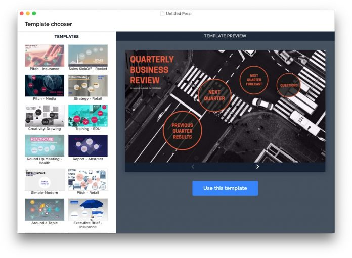 Prezi Template Chooser